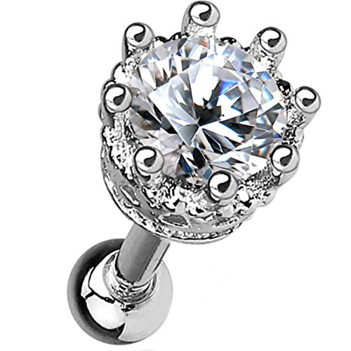 Royal Crown CZ Top Cartilage Tragus Barbell Stud Earring - 16G 1/4