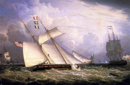 (Robert Salmon American Schooner Under Sail with Heavy Seas - 18.05