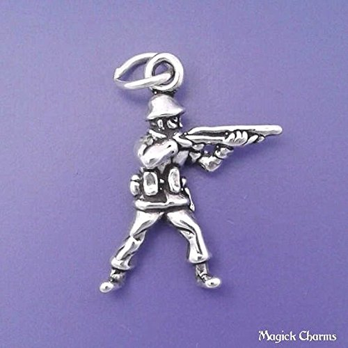 (925 Sterling Silver 3-D Army Soldier with Gun Charm Military Pendant Jewelry Making Supply, Pendant, Charms, Bracelet, DIY Crafting by Wholesale Charms)