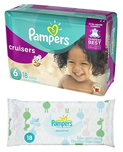 Diaper / Baby Wipe Travel Pack | Includes Pampers Cruisers Size 6 (18 count) and Sensitive Wipes Resealable Container (18 count)