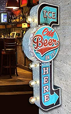 """Ice Cold Beer On Tap Poured Here LED Bar Sign, Large 25"""" Double Sided Blue Sign with Large Marquee Style LED Light Bulbs, Battery Operated Wall Decor with A Retro Distressed and Bottle Cap Design"""