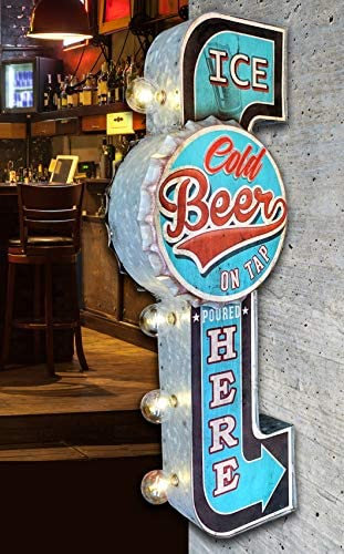 Amazon.com: Ice Cold Beer On Tap Poured Here LED Bar Sign ...