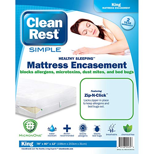 Clean Rest SimpleWater-Resistant, Allergy and Bed Bug Blocking Mattress Encasement, King