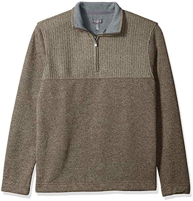 Van Heusen Męskie 1/4-zip Solid Sweater Pullover, Bungee Cord, Small: Odzież