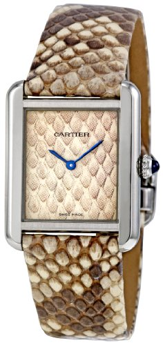 Cartier Women's W5200020 Tank Solo Python Leather strap Watch
