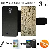 Egyptian Lifestyle Custom Galaxy S4 Cases Flip Wallet Case,Bundle 3in1 Comes with Screen Protector/Universal Stylus Pen by innosub
