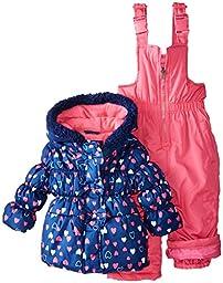 Pink Platinum Baby Girls\' All Over Heart Snowsuit, Navy, 24 Months