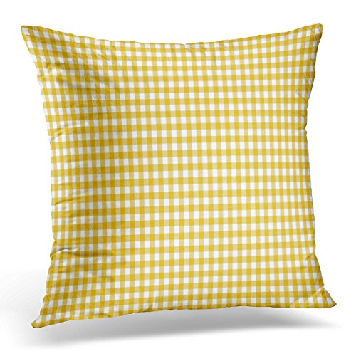 UPOOS Throw Pillow Cover Colorful Tablecloth Dark Yellow Gingham Pattern Orange Plaid Checkered Decorative Pillow Case Home Decor Square 16x16 Inches Pillowcase (Coral Colored Napkins Paper)