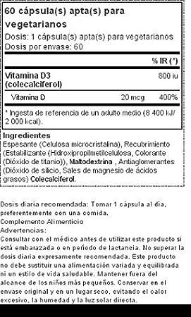 Vitamina D3 2000 UI 60 cápsulas vegetarianas: Amazon.es: Salud y cuidado personal