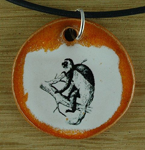 - Orginal handicraft: Gibbon; animal, monkey, jewellery, jewelry, handcrafted necklace, best gift, art, ceramic