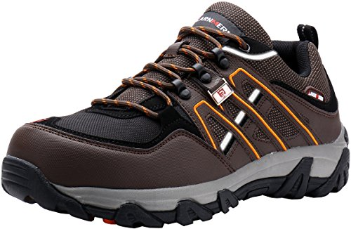LARNMERN Steel Toe Shoes Men, Safety Work Reflective Strip Puncture Proof Footwear Industrial & Construction Shoe (11.5, Brown)
