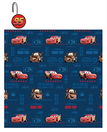 Disney 13 Pieces Cars Shower Curtain with Matching Hooks (Disney Cars Shower Curtain)