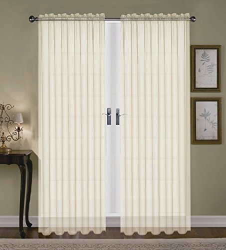 (SET OF 2 SHEER VOILE TAILORED CURTAINS 84