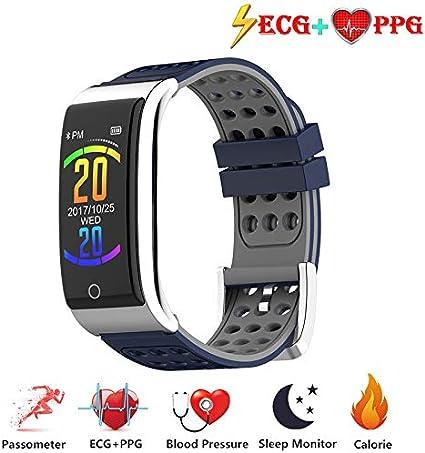 Zeerkeer ECG y Reloj de Pulsera Monitor de frecuencia cardíaca PPG Fitness Watch para Actividad Física Fitness Tracker Contador de Pasos para Mujeres (Azul-Gris)
