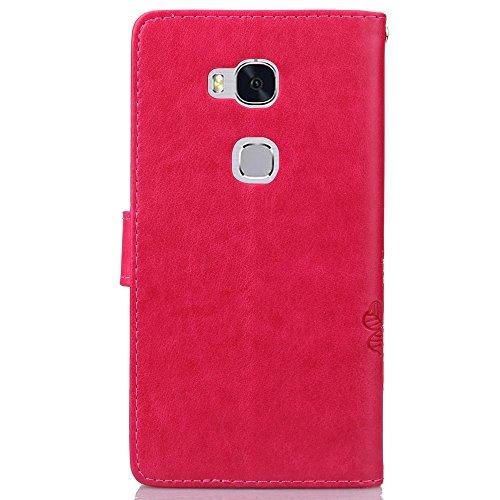 YAJIE-Carcasa Funda Para Huawei Honor 5X, [Relieve Lucky Flower Four-Leaf Clover] Funda de cuero de la PU [Soporte / Ranura para tarjeta] Con correa de muñeca Funda de cuero con tapa ( Color : Brown , Red