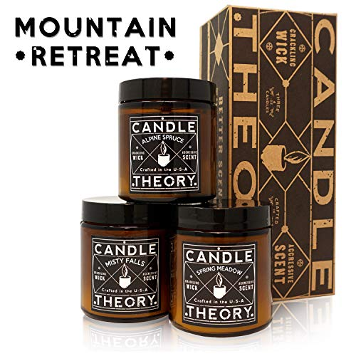 CANDLETHEORY Scented Candle Set with Crackling Wood Wicks - 3, 4 oz Candles - Misty Falls, Alpine Spruce, Spring Meadow - Designed for Both Men and Women but Perfect for Man Cave Decor (Best Small Man Caves)