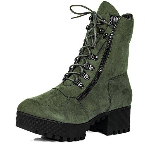 SPYLOVEBUY YANGTZE Mujer Cordone Tacón Bloque Botes Bajas Zapatos Verde - Gamuza Sintética