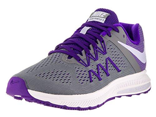 Nike Women's Zoom Winflo 3 Cl Grey/Plst Prpl/Frc Prpl/Wht Running Shoe 7.5 Women US