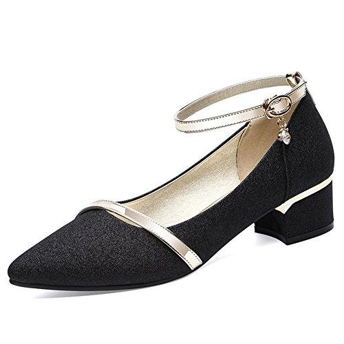 Mujer Baja Hebilla 37 Lentejuelas Medio Con Tacón Ocio Puntiagudos Boca De Negro Salvaje Zapatos 1wqxBfq