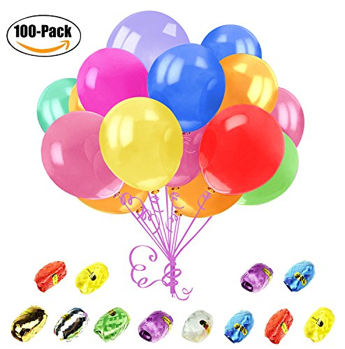 Newland Party Balloons, 100 Pack 12-Inches Round Multi-Color Balloons, with 12 Bonus Colorful Ribbons(Multi-color) - Round Ribbon