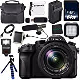 Panasonic Lumix DMC-FZ2500 Digital Camera (International Model) + Lithium Ion Battery + Charger + 64GB SDXC Class 10 Memory Card + Tripod + Memory Card Wallet + Flash + Condenser Mic Bundle