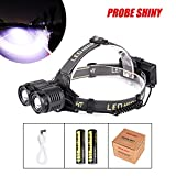 Glumes NEWEST And BEST Version Headlamp, IPX4 Waterproof 800 Lumen 2x XM-L T6 LED Led Headlamp 4 Mode Powerful LED Headlight, USB 18650 Rechargeable Batteries + Line