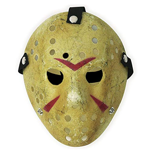 CASACLAUSI Jason Mask Cosplay Halloween Costume Mask Prop Horror Hockey Yellow]()