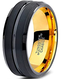 Tungsten Wedding Band Ring 8mm for Men Women Black & 18K Yellow Gold Beveled Edge Brushed Polished Lifetime Guarantee