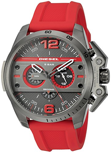 Diesel Men's DZ4388 Ironside Gunmetal Red Silicone Watch