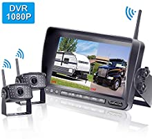 LeeKooLuu F07 HD 1080P Digital Wireless Rear View 2 Cameras for RVs,Trailers,Bus,Motorhome,5th Wheels,Campers with 7'' DVR Monitor High-Speed Observation System Super Night Vision IP69 Waterproof