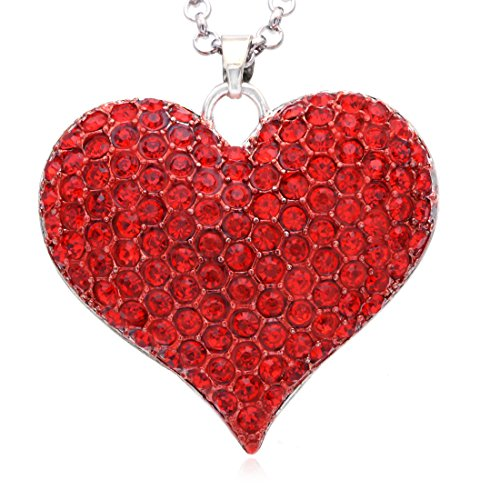 Soulbreezecollection Big Love Red Heart Valentine's Day Pendant Necklace Charm Rhinestones Ladies Women Fashion Jewelry