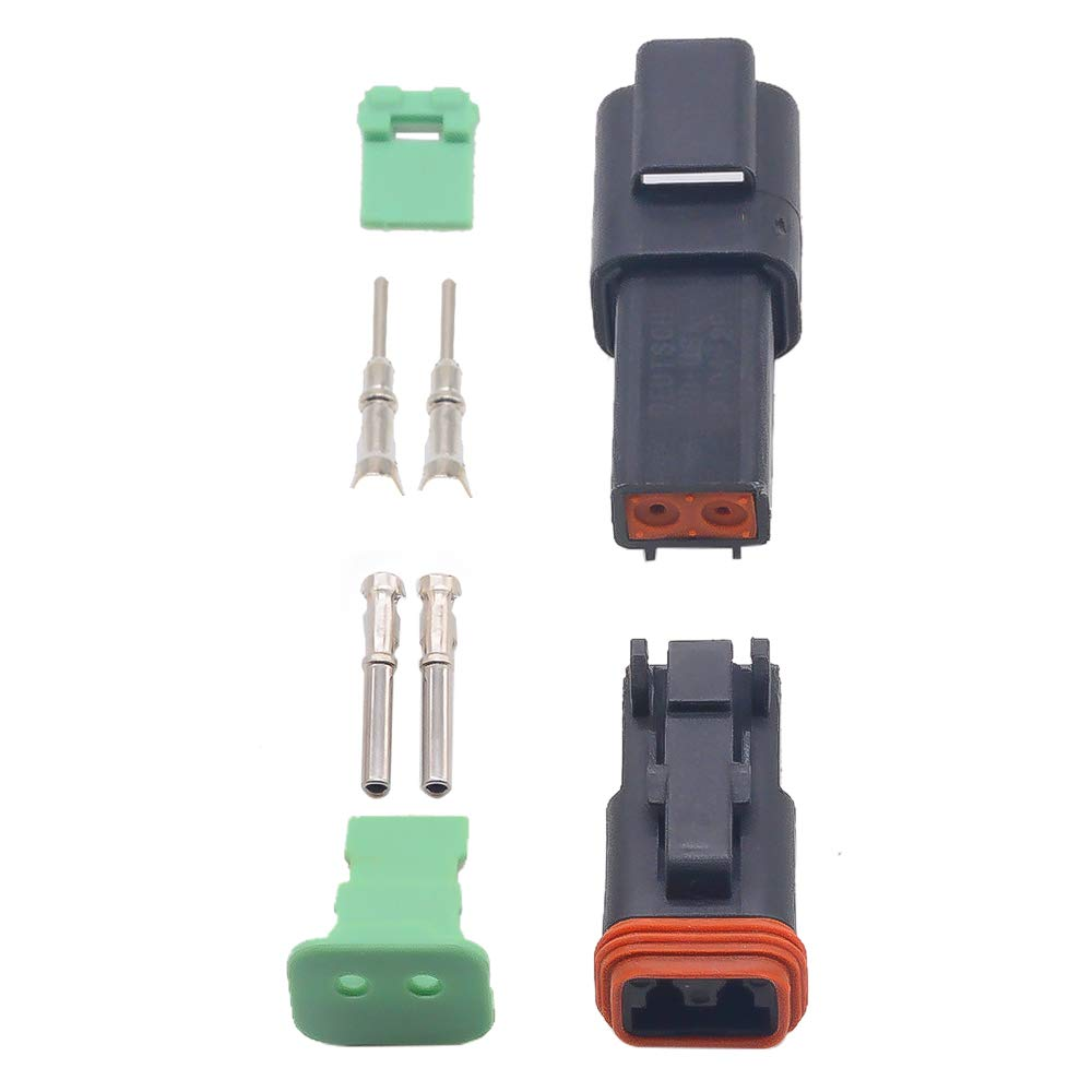 5 sets Kit black 2 Pin Waterproof Electrical Wire Connector plug Kit 22-16AWG DT06-2S DT04-2P