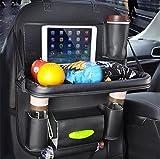 BININBOX Car Backseat Organizer PU Pocket Protector Kick Mat Auto For Baby Kids Travel Accessories Toy Bottle Storage Foldable (Black)