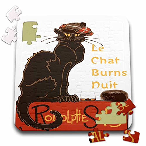 (Taiche - Vector - Burns Night - Le Chat Burns Nuit With Haggis and Dram - 10x10 Inch Puzzle (pzl_273641_2))