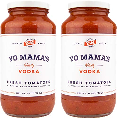 Yo Mama's Gourmet Vodka Pasta Sauce | (2) 25 oz Jars | Paleo Certified, No Sugar Added, Gluten Free, Preservative Free, Keto Friendly, and Made with Whole, Non-GMO Tomatoes!