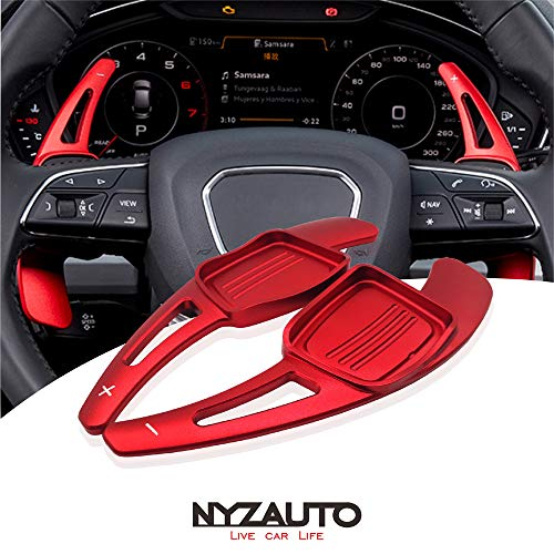 NYZAUTO Aluminum-Alloy Steering Wheel Paddle Shifter Extension For Audi A3 A4 A5 TT TTS S3 S4 S5 SQ5 Q5 Q7 Q8 -Red ()