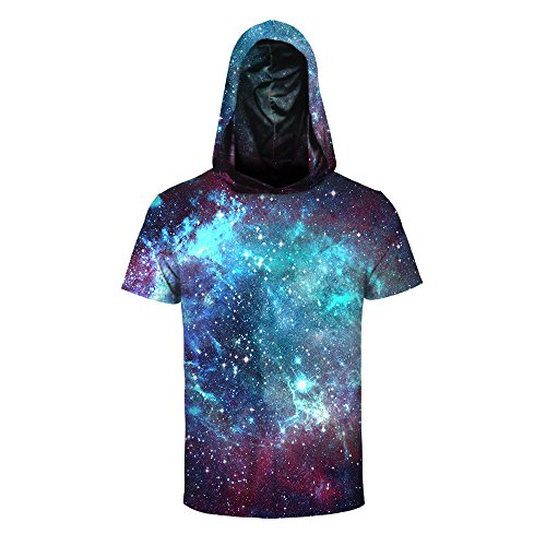 Mens Womens 3D Printed Athletic T-Shirt Hooded Short Sleeve Sweatshirts Tees Tops ()