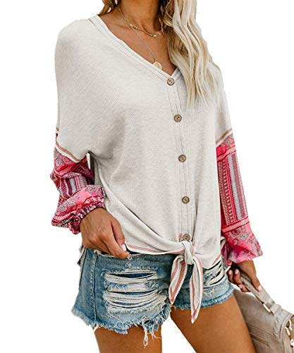 Unidear Womens Tie Front Henley V Neck Button Down Knit Tunic Blouse Boho Print Long Sleeve Thermal Shirt Tops #2White (Print Knit Blouse)