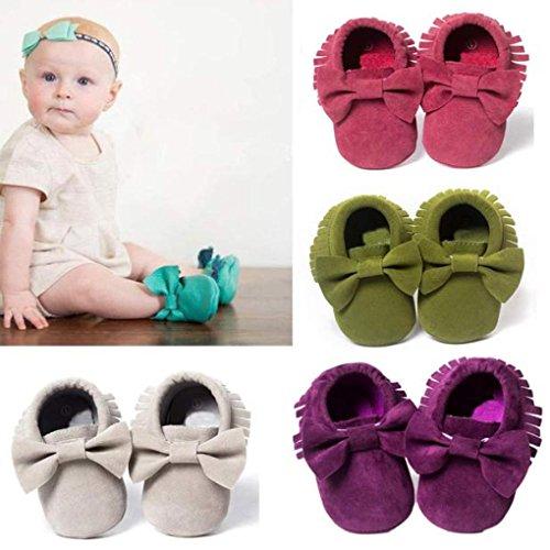 HUHU833 Neugeborene Säuglingsbaby Mädchen Soft Crib Schuhe Troddel Kleinkind Schuhe, Krippe Schuhe, Runde Zehe weiche alleinige Anti Rutsch Schuhe Violett