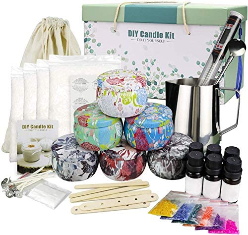Candle Making Kit, Beeswax Scented Candles Supplies Arts and Crafts for Adults and Teens Gift Set for Women Including Fragrance, Soy Wax, Cotton Wicks, Metal Pot, Candle Dyes, Candle Jars and More