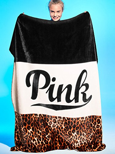 (Victoria's Secret PINK Plush Sherpa Blanket in Leopard Logo Colorblock)
