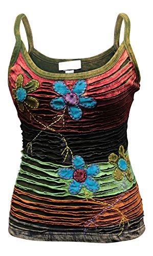 Shopoholic Fashion Women RazorCut Flower Hippie Style Tank Tops Festival Ladies Vest Cotton T-Shirt[M,Flower Razorcut] -