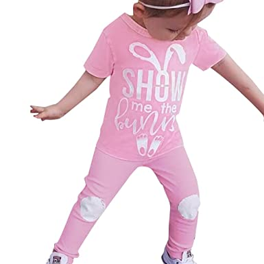 e6eb4e99c NUWFOR Easter Kids Baby Girl Boy Cartoon Letter Rabbit Print T Shirt Pant  2PC Outfits(