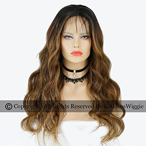 Balayage Human Hair Lace Front Ombre Wigs Glueless Remi Wavy Hair Wigs For Women (20inch 150density) by Goddess