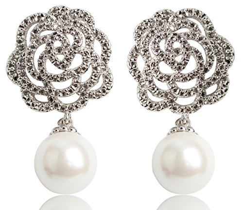 Misasha Women's Camellia Flower Charm Immitation Pearl Dangle (Chanel Inspired Earrings)