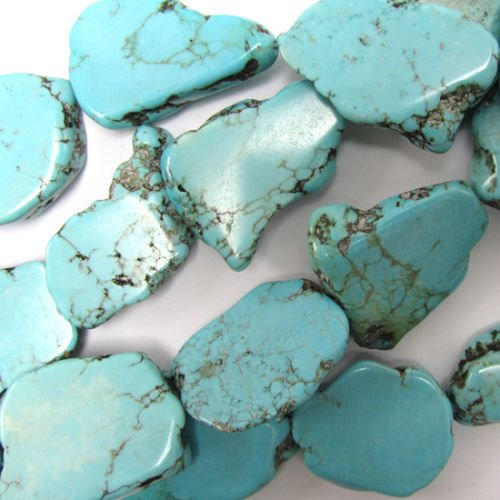 (ShopForAllYou Design Beads 15-23mm Blue Turquoise Freeform Slab Nugget Beads 15.5