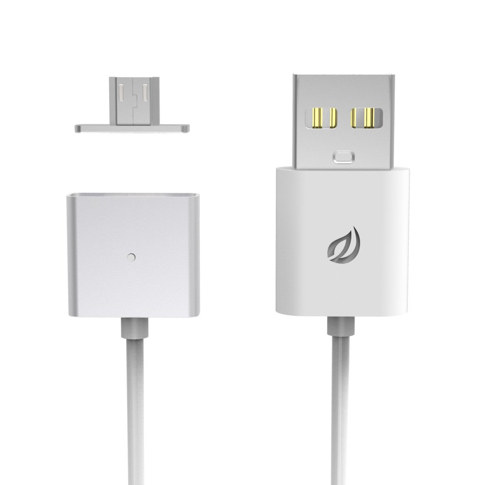 Wsken Micro USB Single Metal General Version Magnetic Cable with LED Indicator Light for Android,xiaomi,and More-1 Cable and 2 Mental Plug (1 M)(silver)