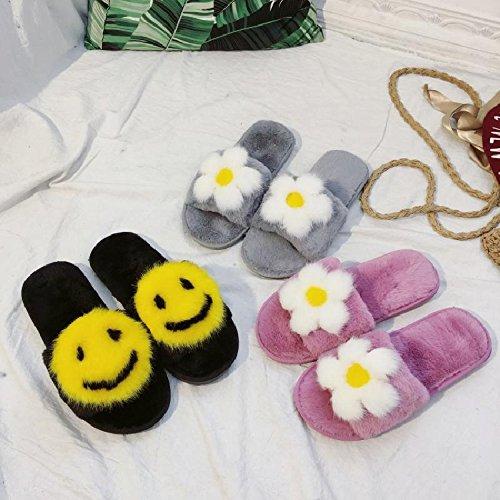 Cachemire LaxBa noir coton tricoté Chaussons nbsp;Ladies' Smiley antiglisse Maison 66rw5