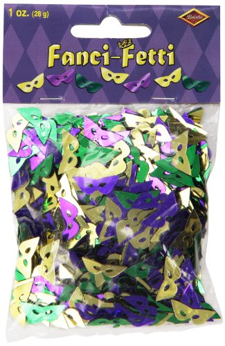 Fanci-Fetti Mardi Gras Masks (asstd gold, green, purple) Party Accessory  (1 count) (1 (New Orleans Mardi Gras Costumes)