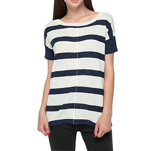 CICI RAN Women's Crew Neck Voile Back Linen Sweater Pullover Top -Blue Stripe-M
